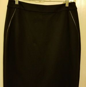 Talbots leather trimmed ponte knit skirt